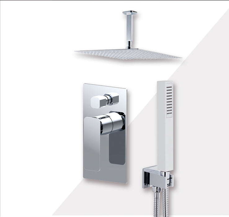 "Aquamoon AXO Chrome Bathroom Modern Rain Mixer Shower Combo Set Ceiling Arm Mounted + Rainfall Shower Head 12"" + Rough in + Trim Incluided + Handheld SETAXO21231 - Bath Trends USA"