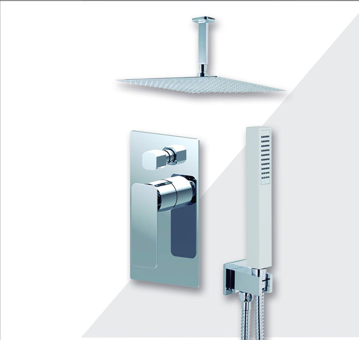 "Aquamoon Axo Brushed Nickel  Bathroom Modern Rain Mixer Shower Combo Set Ceiling Arm Mounted + Rainfall Shower Head 12"" + Rough In + Trim Included + Handheld Setaxo21232"