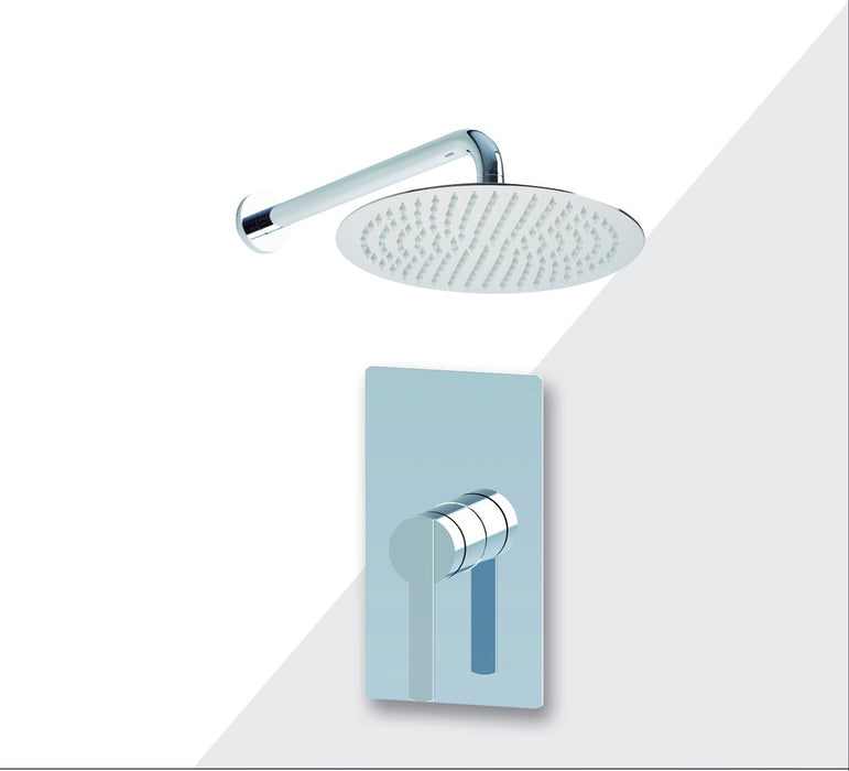 "Aquamoon Bali Brushed Nickel   Bathroom Modern Rain Mixer Shower Combo Set Wall Mounted Rainfall Shower Head 8"" + Rough In + Trim Included Setbali10812"