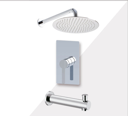 "Aquamoon BALI Chrome Shower with Tub Spout and 12"" Rain Shower Head, Wall Mounted Arm + Rough in + Trim Incluided SETBALI11221"