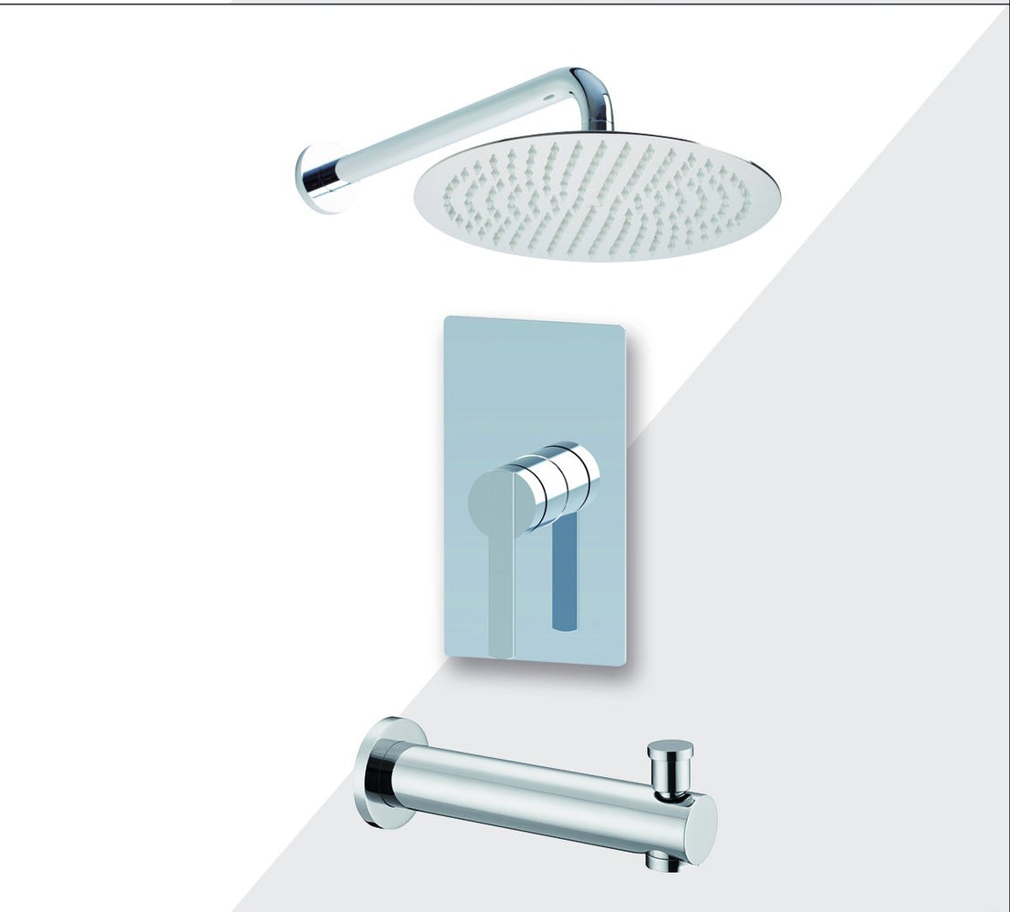 "Aquamoon Bali Chrome Shower With Tub Spout And 12"" Rain Shower Head, Wall Mounted Arm + Rough In + Trim Included Setbali11221"