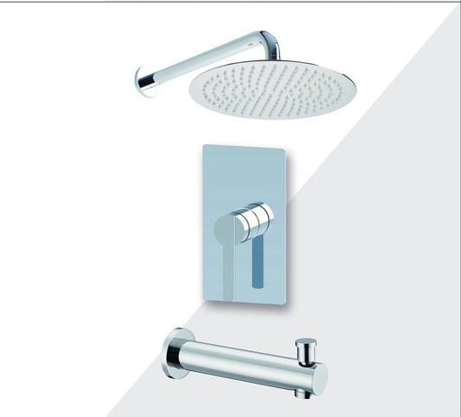 "Aquamoon Bali Chrome Shower With Tub Spout And 12"" Rain Shower Head, Wall Mounted Arm + Rough In + Trim Included Setbali11221 - Bath Trends USA"