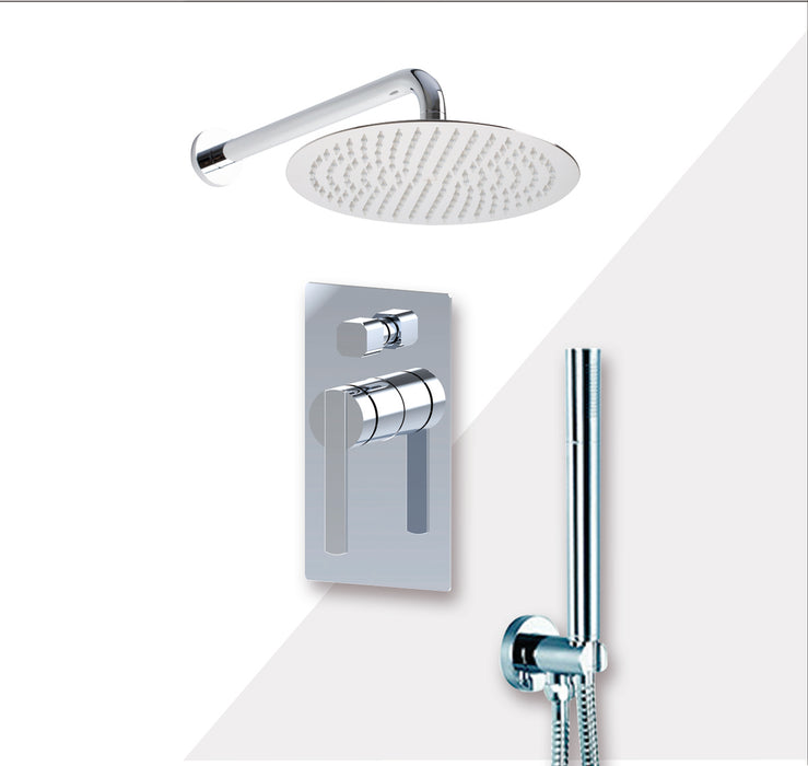 "Aquamoon BALI Chrome Bathroom Modern Rain Mixer Shower Combo Set Wall Mounted Rainfall Shower Head 12"" + Rough in + Trim Incluided + Handheld SETBALI11231"