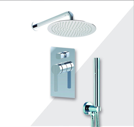 "Aquamoon Bali Brushed Nickel   Bathroom Modern Rain Mixer Shower Combo Set Wall Mounted Rainfall Shower Head 12"" + Rough In + Trim Included + Handheld Setbali11232"
