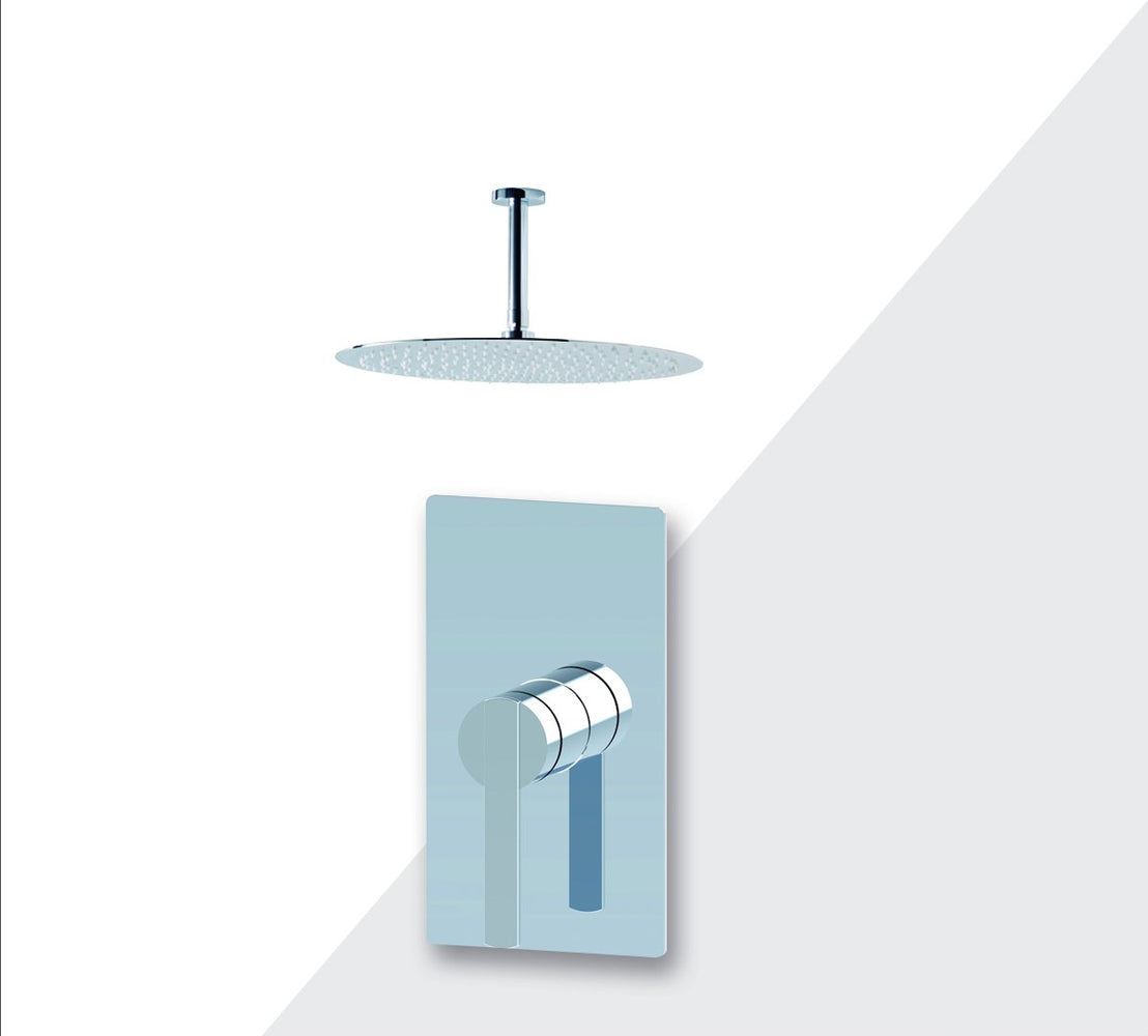 "Aquamoon Bali Chrome  Bathroom Modern Rain Mixer Shower Combo Set Ceiling Arm Mounted + Rainfall Shower Head 8"" + Rough In + Trim Included Setbali20811"