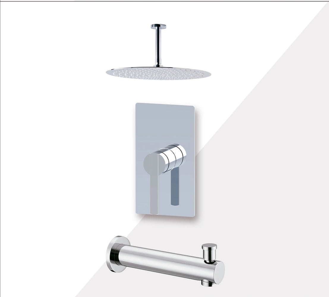 "Aquamoon BALI Chrome Shower with Tub Spout and 8"" Rain Shower Head, Ceiling Mounted Arm + Rough in + Trim Incluided SETBALI20821"