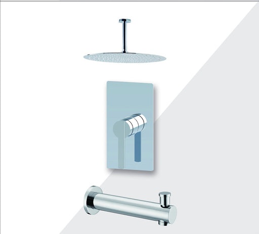"Aquamoon Bali Brushed Nickel  Shower With Tub Spout And 8"" Rain Shower Head, Ceiling Mounted Arm + Rough In + Trim Included Setbali20822"