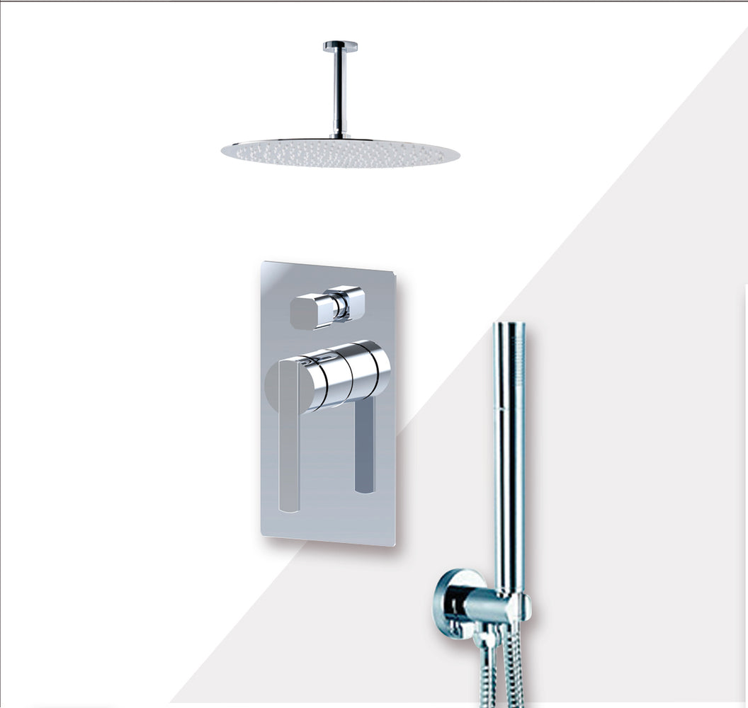 "Aquamoon BALI Chrome  Bathroom Modern Rain Mixer Shower Combo Set Ceiling Arm Mounted + Rainfall Shower Head 8"" + Rough in + Trim Incluided + Handheld SETBALI20831"