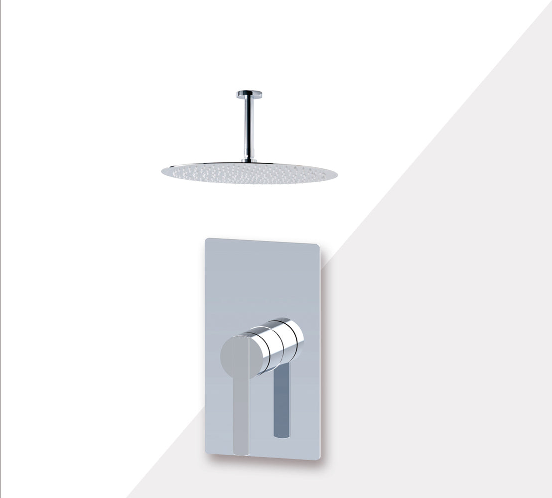 "Aquamoon Bali Brushed Nickel  Bathroom Modern Rain Mixer Shower Combo Set Ceiling Arm Mounted + Rainfall Shower Head 12"" + Rough In + Trim Included Setbali21211"