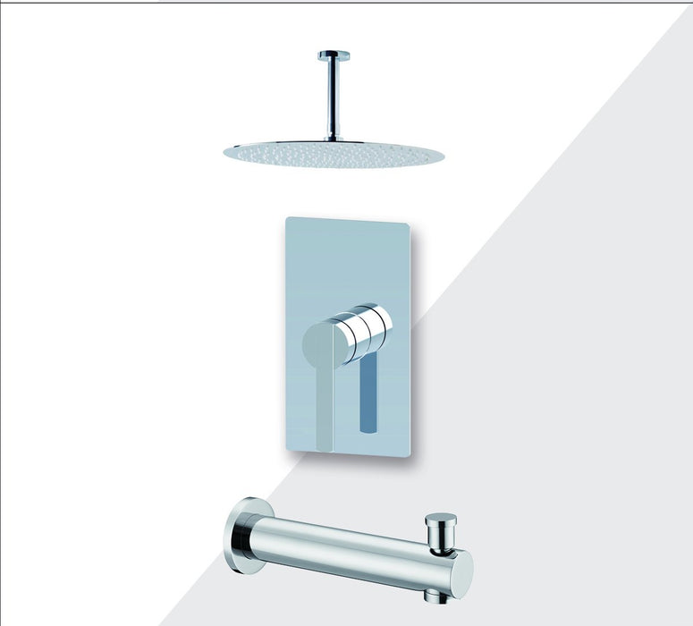 "Aquamoon Bali Chrome Shower With Tub Spout And 12"" Rain Shower Head, Ceiling Mounted Arm + Rough In + Trim Included Setbali21221"
