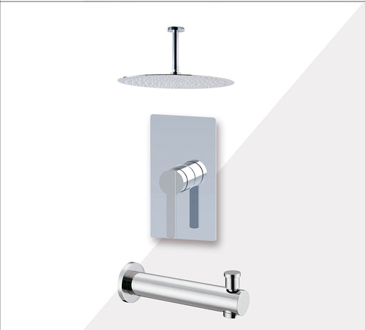 "Aquamoon Bali Brushed Nickel Shower With Tub Spout And 12"" Rain Shower Head, Ceiling Mounted Arm + Rough In + Trim Included Setbali21222 - Bath Trends USA"