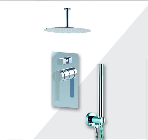"Aquamoon Bali Chrome  Bathroom Modern Rain Mixer Shower Combo Set Ceiling Arm Mounted + Rainfall Shower Head 12"" + Rough In + Trim Included + Handheld Setbali21231"