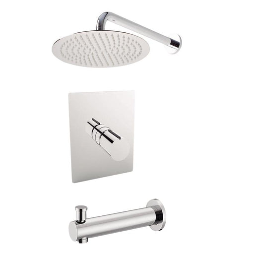 "Aquamoon Barcelona Brushed Nickel   Bathroom Modern Rain Mixer Shower Combo Set Wall Mounted Rainfall Shower Head 8"" + Rough In + Trim Included Setbar10812"