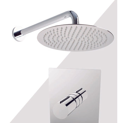 "Aquamoon Barcelona Chrome Shower With Tub Spout And 8"" Rain Shower Head, Wall Mounted Arm + Rough In + Trim Included Setbar10821 - Bath Trends USA"