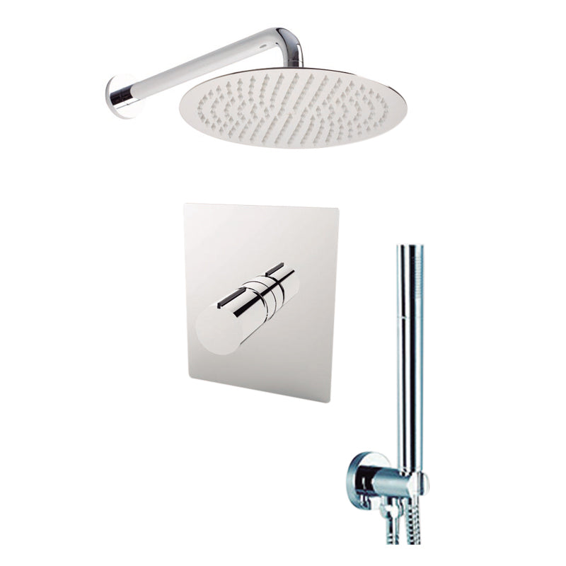 "Aquamoon BARCELONA Chrome  Bathroom Modern Rain Mixer Shower Combo Set Wall Mounted Rainfall Shower Head 8"" + Rough in + Trim Incluided + Handheld SETBAR10831"