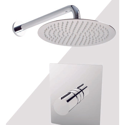 "Aquamoon Barcelona Chrome Shower With Tub Spout And 12"" Rain Shower Head, Wall Mounted Arm + Rough In + Trim Included Setbar11221"