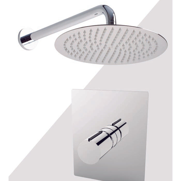 "Aquamoon Barcelona Brushed Nickel  Shower With Tub Spout And 12"" Rain Shower Head, Wall Mounted Arm + Rough In + Trim Included Setbar11222"