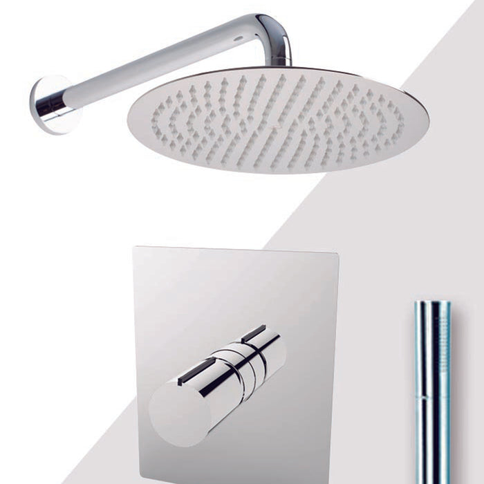 "Aquamoon Barcelona Chrome Bathroom Modern Rain Mixer Shower Combo Set Wall Mounted Rainfall Shower Head 12"" + Rough In + Trim Included + Handheld Setbar11231"