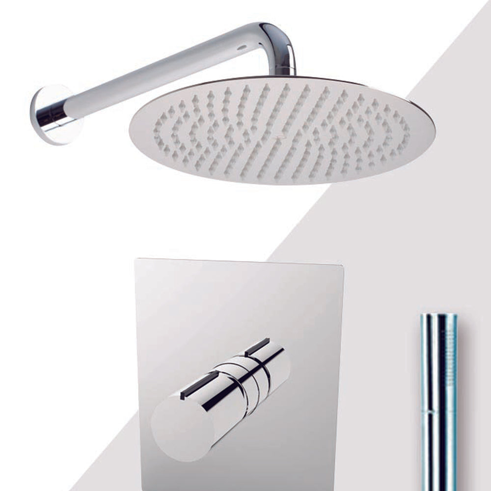 "Aquamoon Barcelona Brushed Nickel   Bathroom Modern Rain Mixer Shower Combo Set Wall Mounted Rainfall Shower Head 12"" + Rough In + Trim Included + Handheld Setbar11232"
