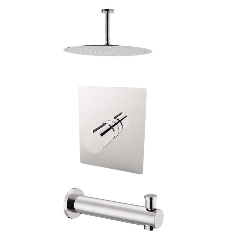 "Aquamoon Barcelona Chrome Shower With Tub Spout And 8"" Rain Shower Head, Ceiling Mounted Arm + Rough In + Trim Included Setbar20821"