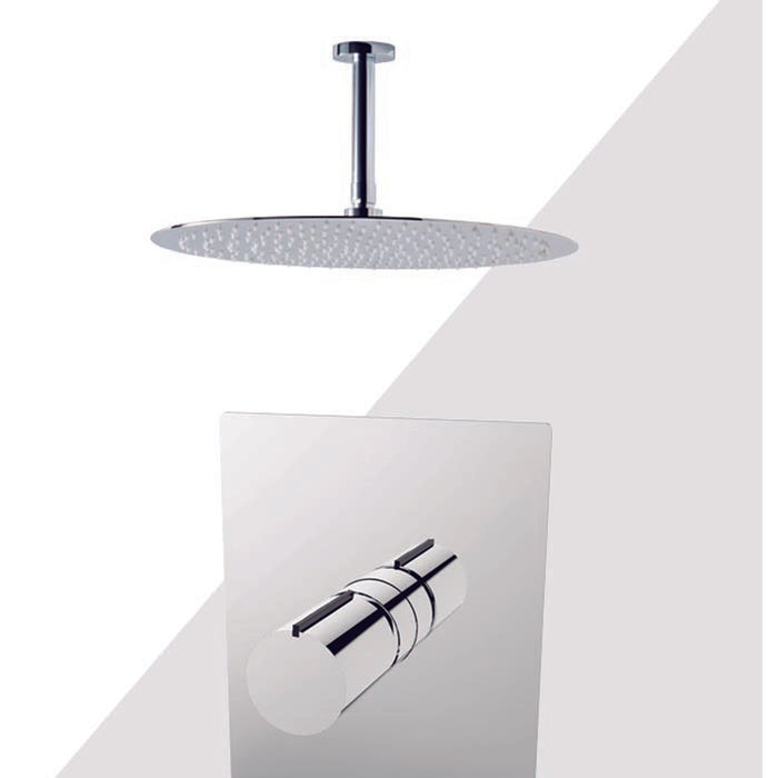 "Aquamoon Barcelona Brushed Nickel  Shower With Tub Spout And 8"" Rain Shower Head, Ceiling Mounted Arm + Rough In + Trim Included Setbar20822"