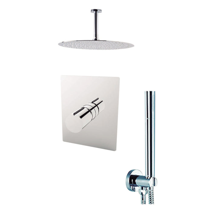 "Aquamoon BARCELONA Chrome  Bathroom Modern Rain Mixer Shower Combo Set Ceiling Arm Mounted + Rainfall Shower Head 8"" + Rough in + Trim Incluided + Handheld SETBAR20831"