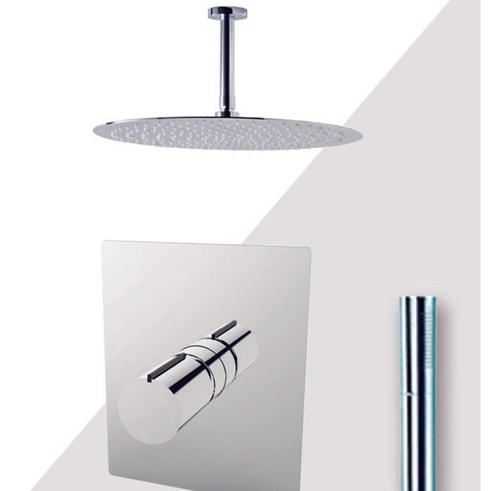 "Aquamoon Barcelona Brushed Nickel Bathroom Modern Rain Mixer Shower Combo Set Ceiling Arm Mounted + Rainfall Shower Head 8"" + Rough In + Trim Included + Handheld Setbar20832 - Bath Trends USA"