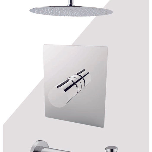 "Aquamoon Barcelona Chrome Shower With Tub Spout And 12"" Rain Shower Head, Ceiling Mounted Arm + Rough In + Trim Included Setbar21221 - Bath Trends USA"