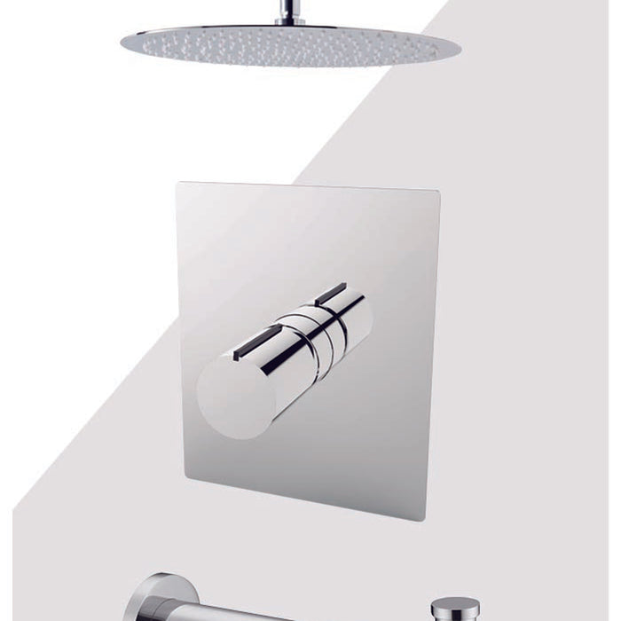 "Aquamoon Barcelona Chrome Shower With Tub Spout And 12"" Rain Shower Head, Ceiling Mounted Arm + Rough In + Trim Included Setbar21221"