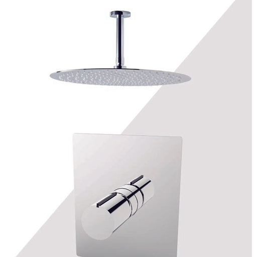 "Aquamoon Barcelona Brushed Nickel  Shower With Tub Spout And 12"" Rain Shower Head, Ceiling Mounted Arm + Rough In + Trim Included Setbar21222"