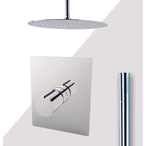 "Aquamoon Barcelona Chrome  Bathroom Modern Rain Mixer Shower Combo Set Ceiling Arm Mounted + Rainfall Shower Head 12"" + Rough In + Trim Included + Handheld Setbar21231"