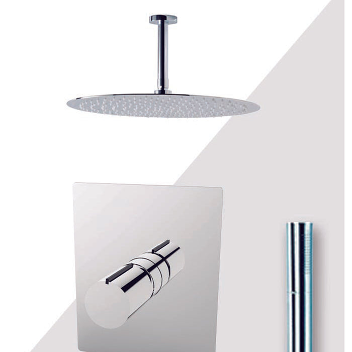 "Aquamoon BARCELONA Brush Nickel  Bathroom Modern Rain Mixer Shower Combo Set Ceiling Arm Mounted + Rainfall Shower Head 12"" + Rough in + Trim Incluided + Handheld SETBAR21232"