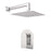"Aquamoon Havana Brushed Nickel   Bathroom Modern Rain Mixer Shower Combo Set Wall Mounted Rainfall Shower Head 8"" + Rough In + Trim Included Sethav10812"