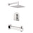 "Aquamoon Havana Chrome Shower With Tub Spout And 8"" Rain Shower Head, Wall Mounted Arm + Rough In + Trim Included Sethav10821"