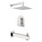 "Aquamoon Havana Brushed Nickel  Shower With Tub Spout And 8"" Rain Shower Head, Wall Mounted Arm + Rough In + Trim Included Sethav10822"