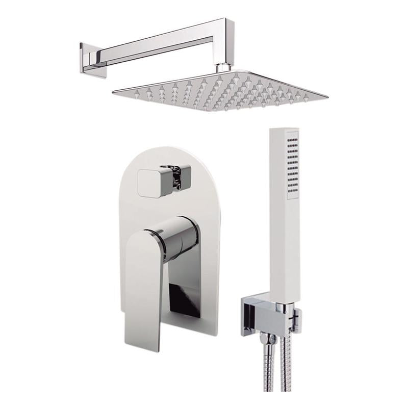 "Aquamoon Havana Brushed Nickel   Bathroom Modern Rain Mixer Shower Combo Set Wall Mounted Rainfall Shower Head 8"" + Rough In + Trim Included + Handheld Sethav10832"