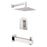 "Aquamoon Havana Chrome Shower With Tub Spout And 12"" Rain Shower Head, Wall Mounted Arm + Rough In + Trim Included Sethav11221"