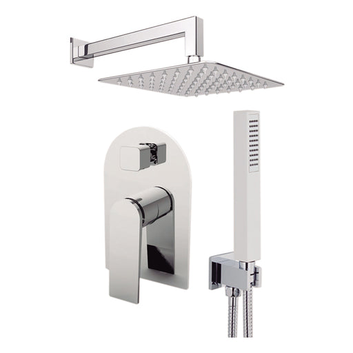 "Aquamoon HAVANA Chrome Bathroom Modern Rain Mixer Shower Combo Set Wall Mounted Rainfall Shower Head 12"" + Rough in + Trim Incluided + Handheld SETHAV11231"