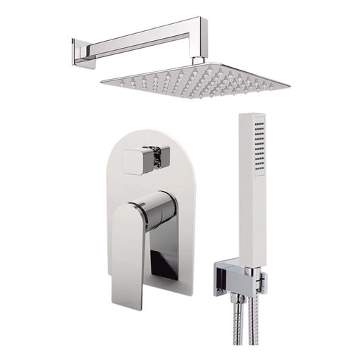 "Aquamoon Havana Chrome Bathroom Modern Rain Mixer Shower Combo Set Wall Mounted Rainfall Shower Head 12"" + Rough In + Trim Included + Handheld Sethav11231"