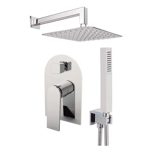 "Aquamoon Havana Brushed Nickel   Bathroom Modern Rain Mixer Shower Combo Set Wall Mounted Rainfall Shower Head 12"" + Rough In + Trim Included + Handheld Sethav11232"