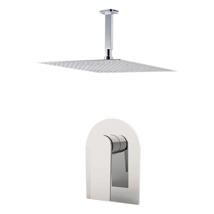 "Aquamoon Havana Brushed Nickel   Bathroom Modern Rain Mixer Shower Combo Set Ceiling Arm Mounted + Rainfall Shower Head 8"" + Rough In + Trim Included Sethav20811"