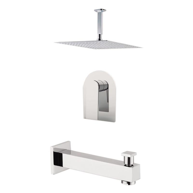 "Aquamoon Havana Chrome Shower With Tub Spout And 8"" Rain Shower Head, Ceiling Mounted Arm + Rough In + Trim Included Sethav20821"