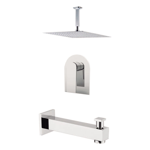 "Aquamoon HAVANA Brush Nickel  Shower with Tub Spout and 8"" Rain Shower Head, Ceiling Mounted Arm + Rough in + Trim Incluided SETHAV20822"