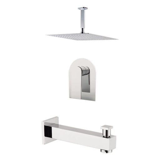 "Aquamoon Havana Brushed Nickel  Shower With Tub Spout And 8"" Rain Shower Head, Ceiling Mounted Arm + Rough In + Trim Included Sethav20822"