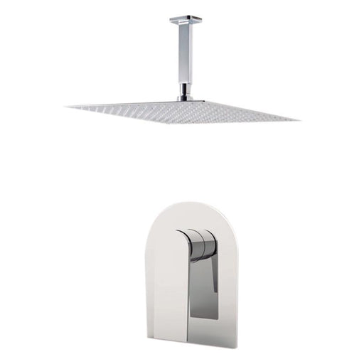 "Aquamoon Havana Brushed Nickel  Bathroom Modern Rain Mixer Shower Combo Set Ceiling Arm Mounted + Rainfall Shower Head 12"" + Rough In + Trim Included Sethav21211"