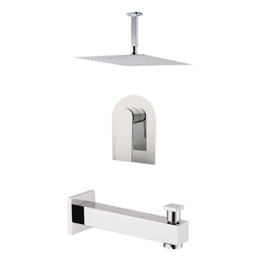 "Aquamoon Havana Chrome Shower With Tub Spout And 12"" Rain Shower Head, Ceiling Mounted Arm + Rough In + Trim Included Sethav21221 - Bath Trends USA"