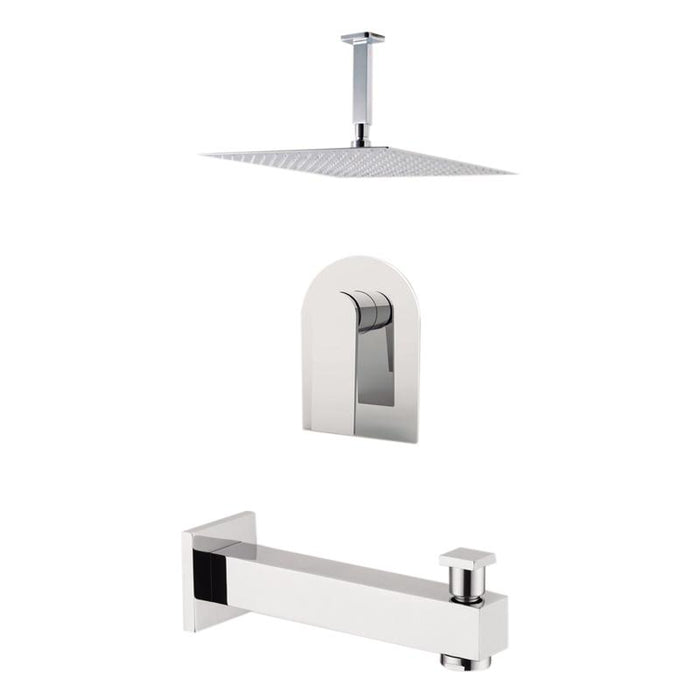 "Aquamoon Havana Chrome Shower With Tub Spout And 12"" Rain Shower Head, Ceiling Mounted Arm + Rough In + Trim Included Sethav21221"
