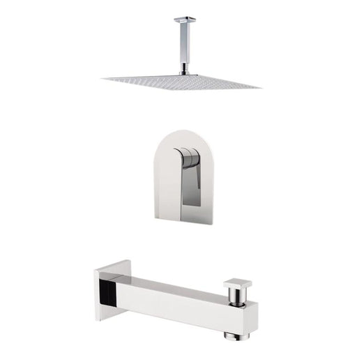 "Aquamoon Havana Brushed Nickel Shower With Tub Spout And 12"" Rain Shower Head, Ceiling Mounted Arm + Rough In + Trim Included Sethav21222 - Bath Trends USA"
