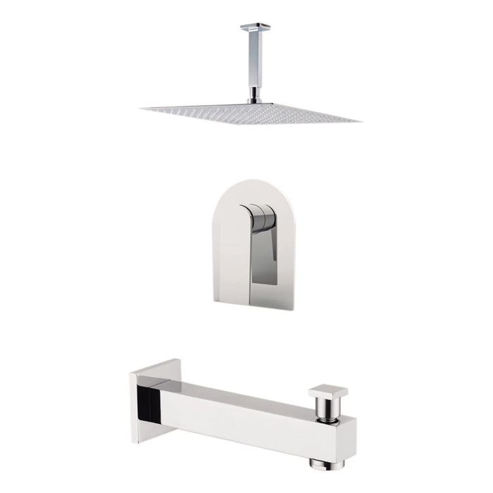 "Aquamoon HAVANA Brush Nickel  Shower with Tub Spout and 12"" Rain Shower Head, Ceiling Mounted Arm + Rough in + Trim Incluided SETHAV21222"