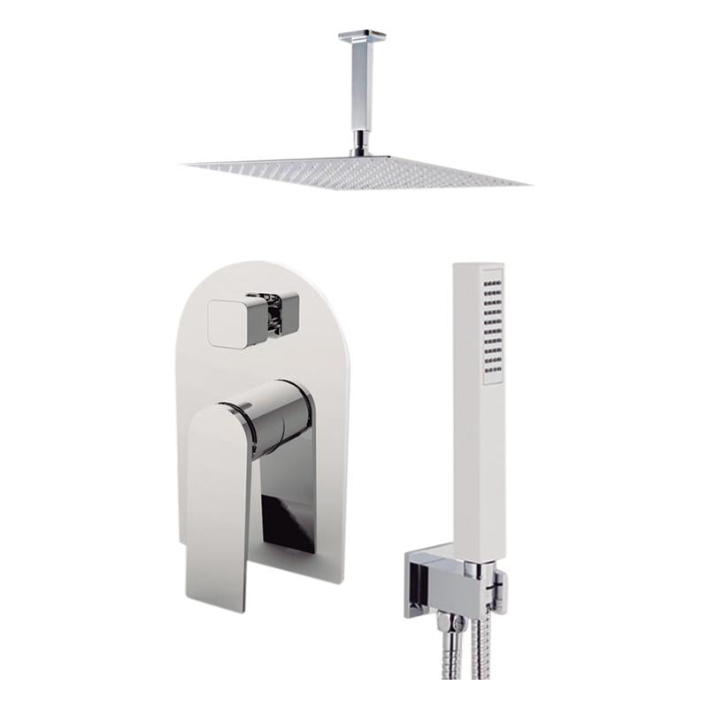 "Aquamoon Havana Brushed Nickel  Bathroom Modern Rain Mixer Shower Combo Set Ceiling Arm Mounted + Rainfall Shower Head 12"" + Rough In + Trim Included + Handheld Sethav21232"